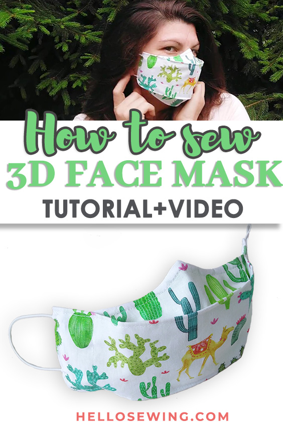 Free printable 3d face mask pattern pdf with written tutorial and VIDEO