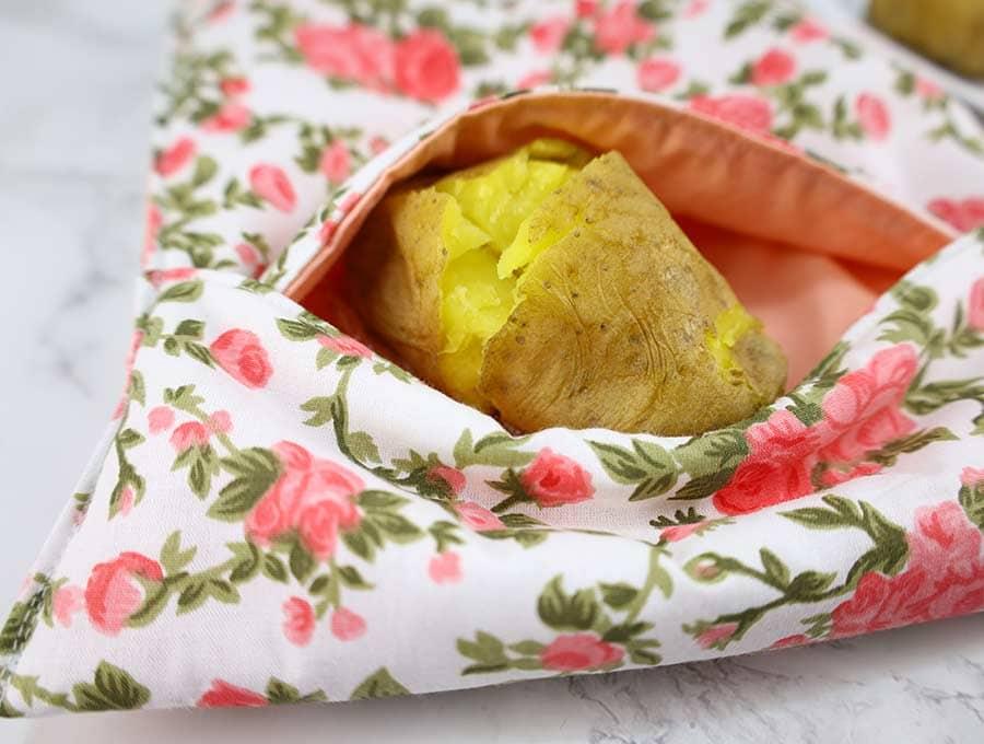baked potato bag close up
