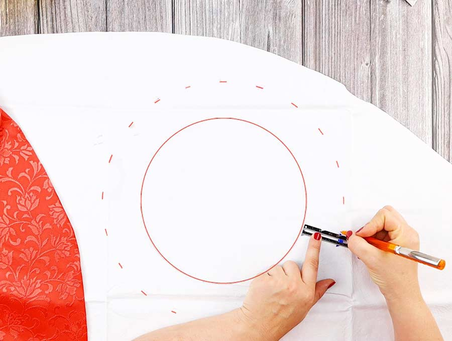 making the bowl cover pattern - drawing