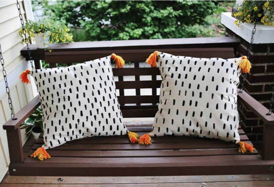 brush painted throw porch pillows