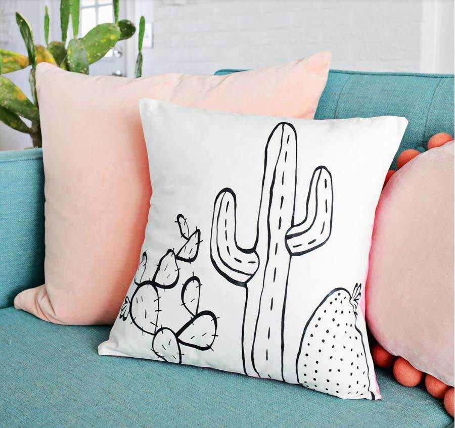 cactus outline throw pillow