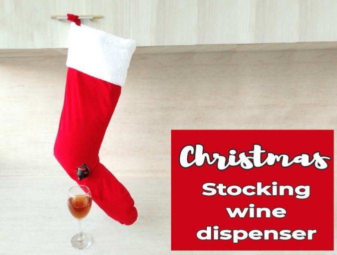 christmas stocking wine dispenser
