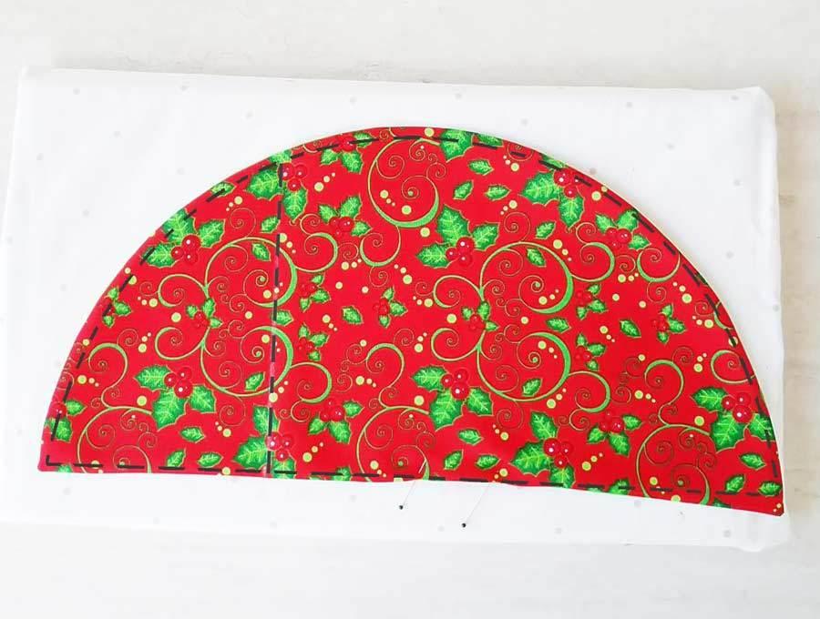 topstitching the Christmas napkin