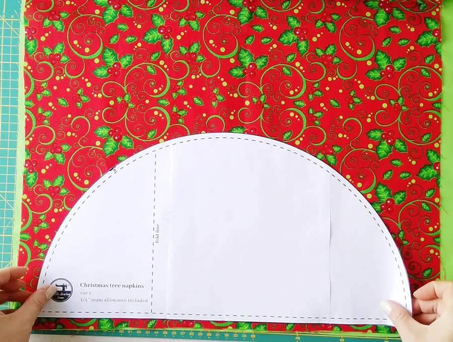 christmas tree pattern on top of the fabrics