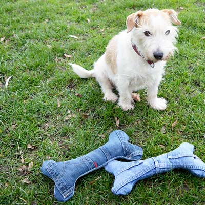 denim dog toys
