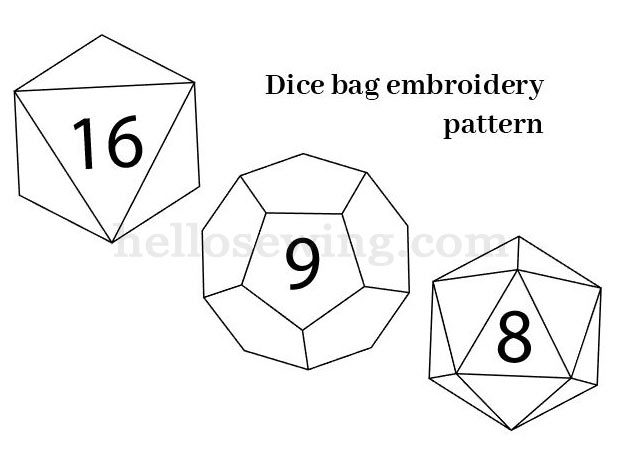 dice bag embroidery pattern