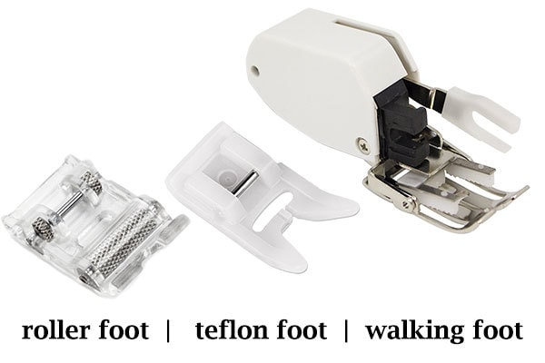 different presser feet - roller, teflon, walking