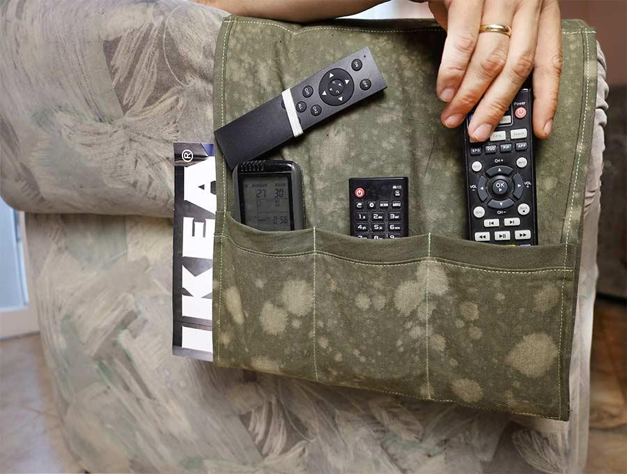 diy armchair organizer for remotes
