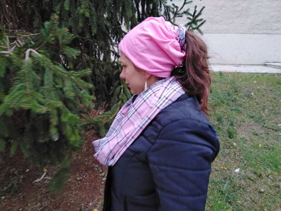diy beanie hat modeled by a woman