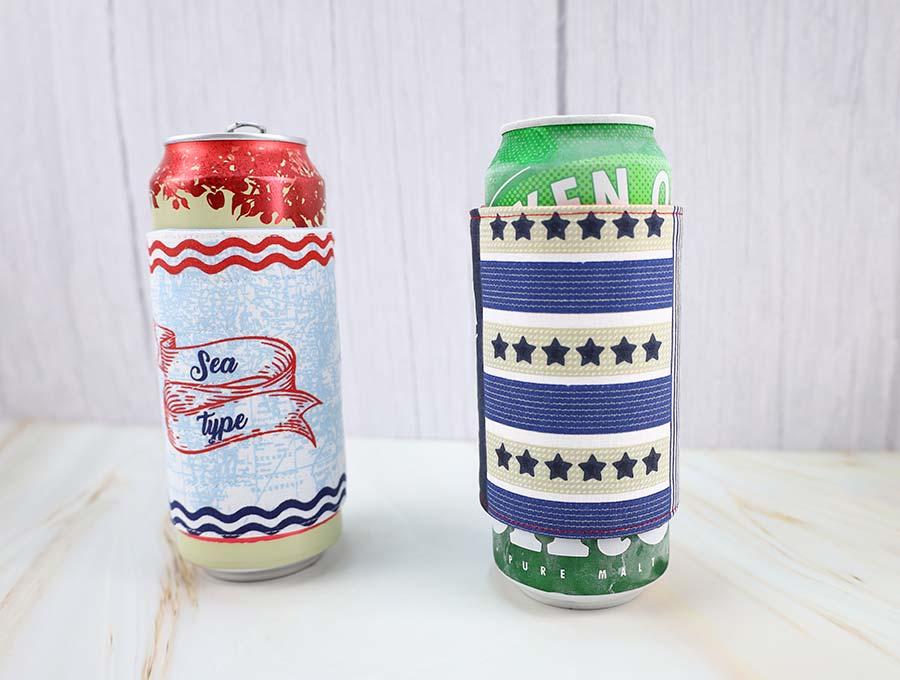 diy beer koozies side by side