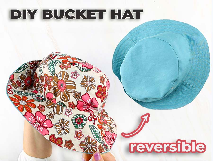 how to make a bucket hat - view from both sides