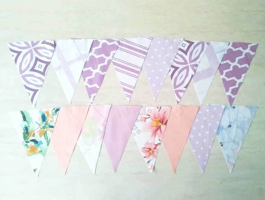fabric buntings cut according to pattern