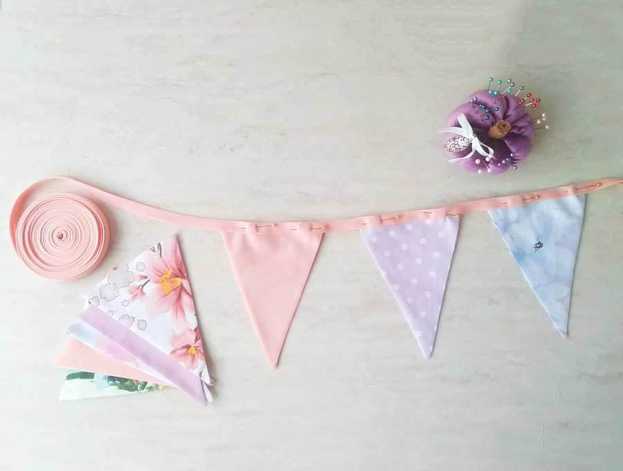 diy fabric bunting - deciding distance between triangles