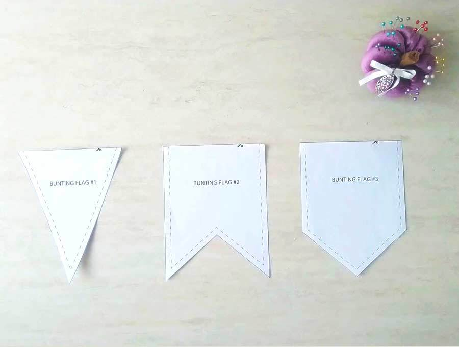 bunting template and pattern in 3 distinct shapes