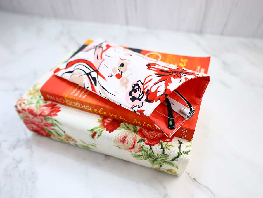diy eyeglass case on top of fabric book cover