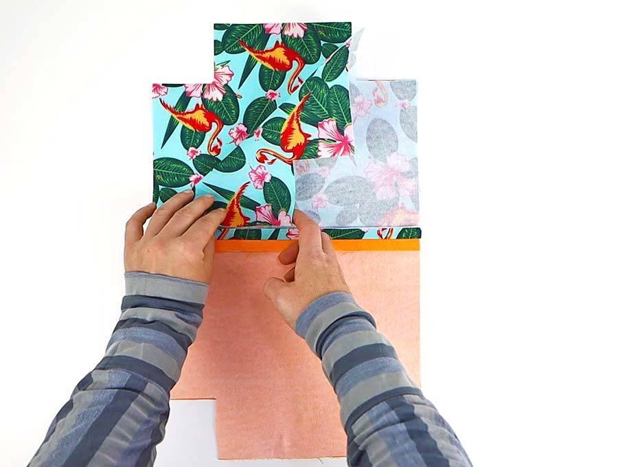 layering the diy fabric bin pieces