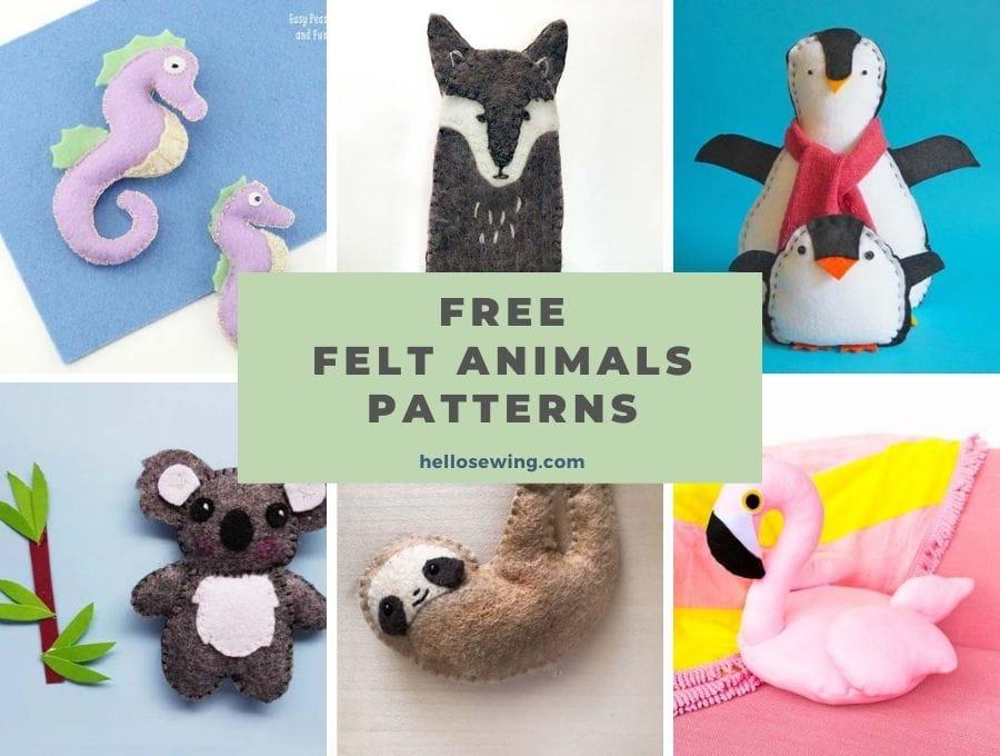 DIY felt animals with free patterns