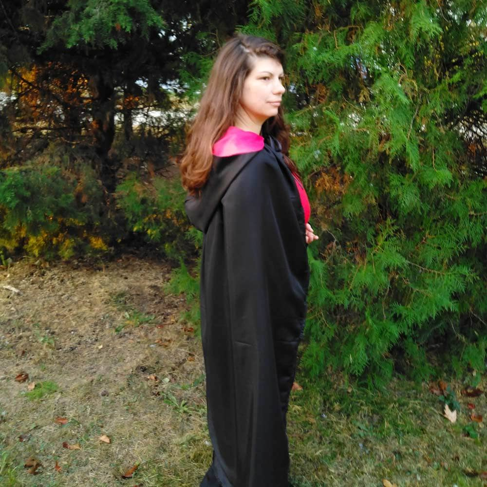 diy hooded cape with hood worn by a woman