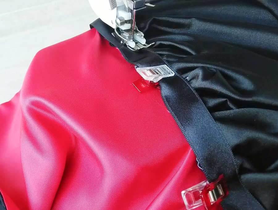 diy cloak - sewing ribbon between hood and fabric
