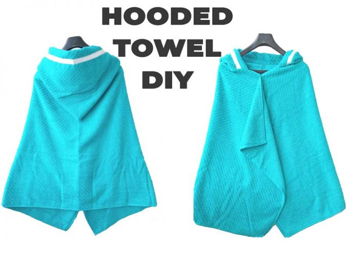 How to make a hooded towel - front and back of towel