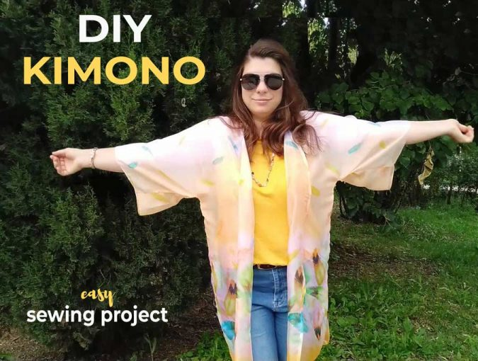 how to make a kimono out of a scarf with FREE diy kimono sewing pattern