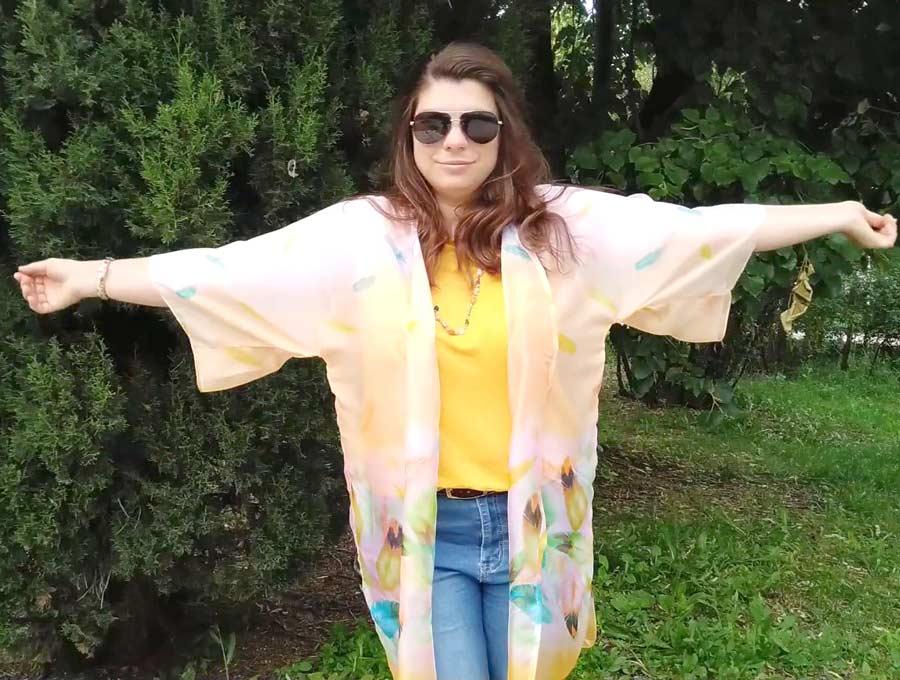 DIY kimono on model