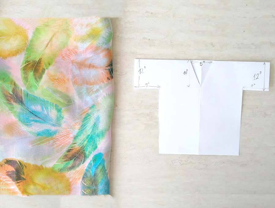 DIY kimono pattern on paper and scarf ready to be sewn