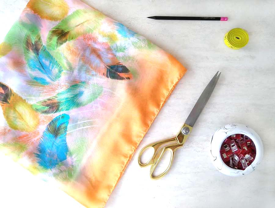 DIY kimono scarf and materials you'll need to sew it