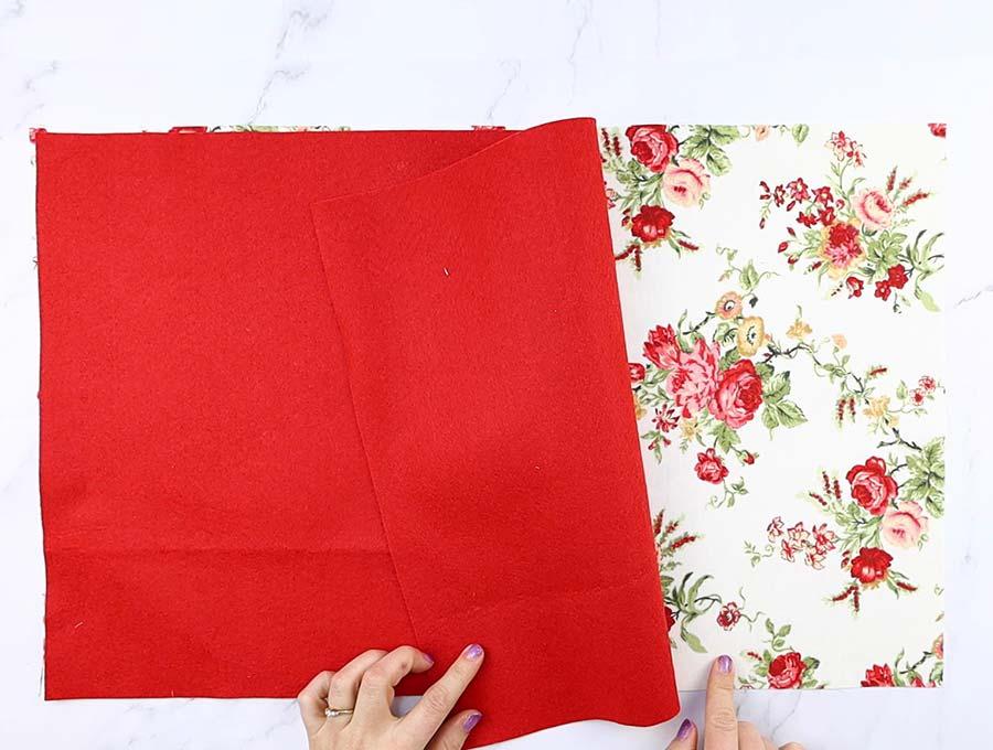 cutting fabric for the diy laptop bag