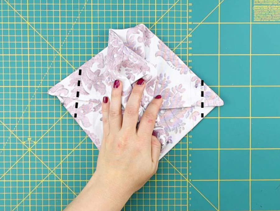 stitching the corners of the diy lunch bag