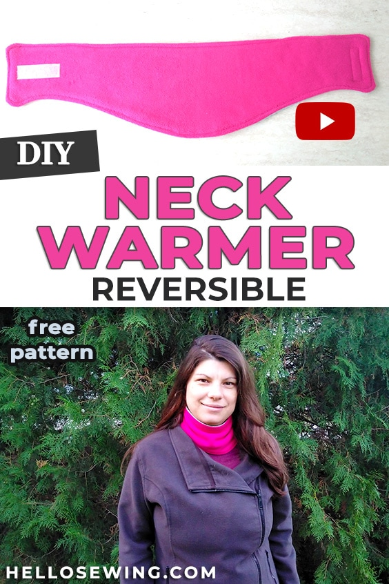 DIY fleece neck warmer pattern and tutorial (REVERSIBLE)