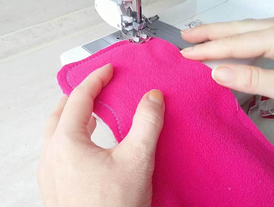 Sewing the fleece neck warmer