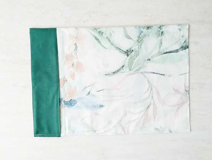 last step of diy pillowcase french seam