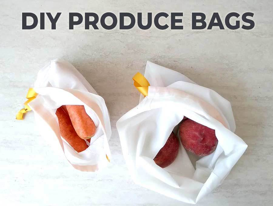 DIY Produce bags full of vegetables and fruit