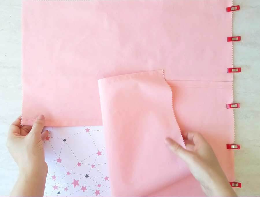 attaching the second piece of fabric for the back of the pocket pillow