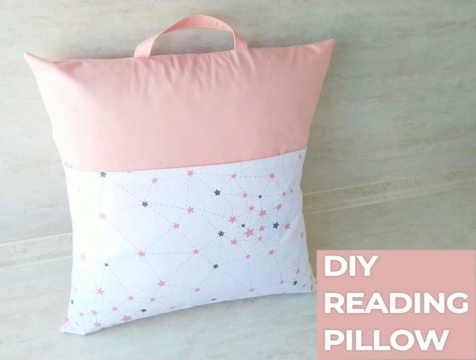 Reading pillow with pocket for book