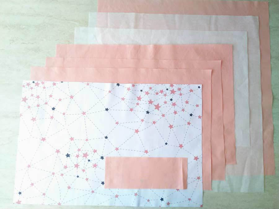 fabrics cut according to the free reading pillow pattern
