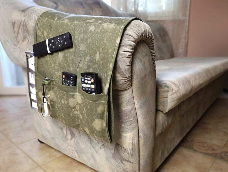 DIY Fabric Remote Control Holder – How to sew an Armchair caddy with 4 pockets
