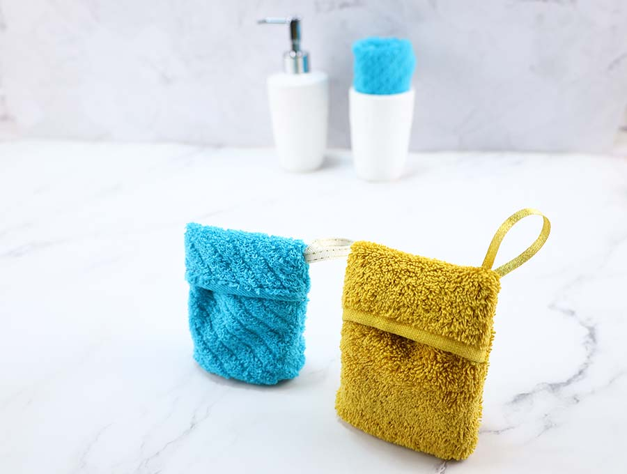 DIY soap savers out of washcloth