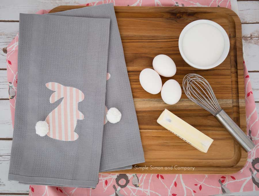 spring dishtowels with a bunny silhoette