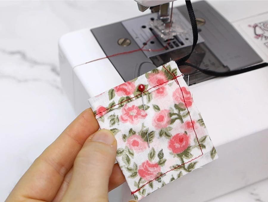 pinned and stitched reusable fabric tea bag