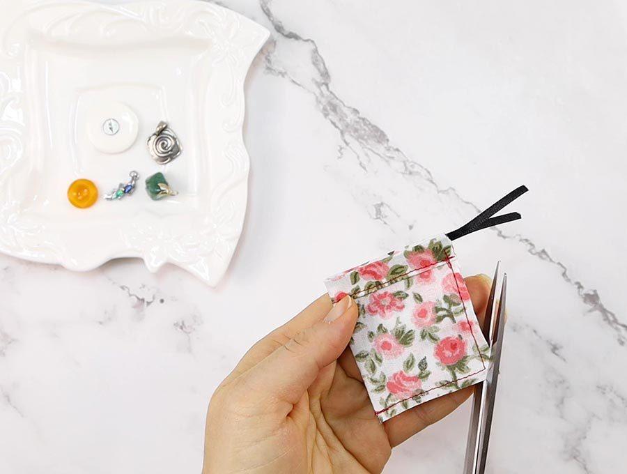 trimming corners of the fabric tea bag
