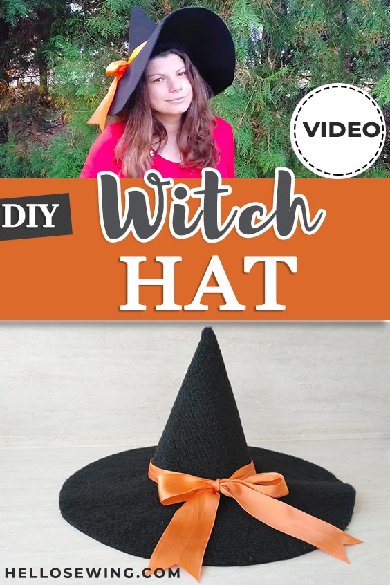 Felt witch hat pattern and tutorial by HelloSewing