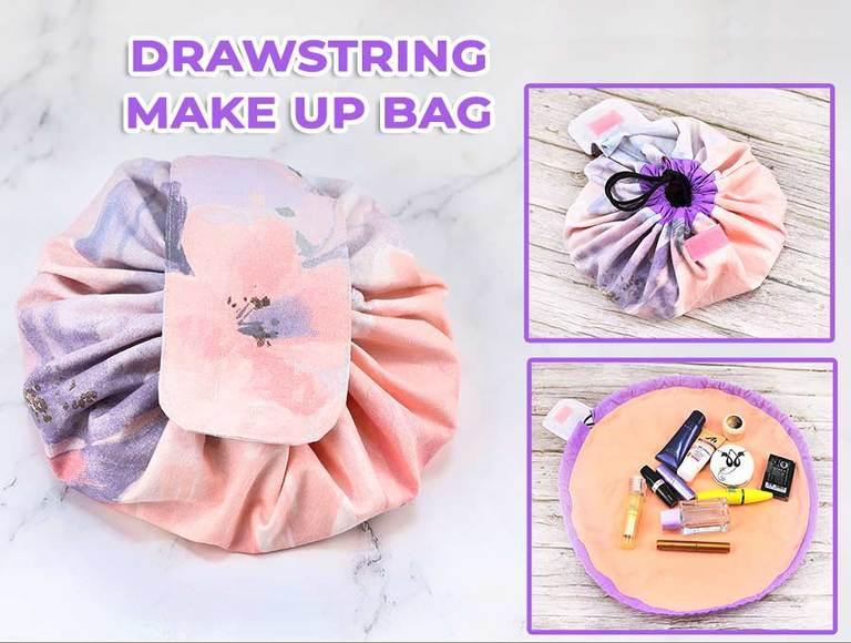 DIY Round Drawstring Makeup Bag (VIDEO)