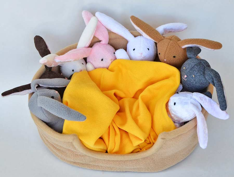 easter bunnies stuffies in a basket