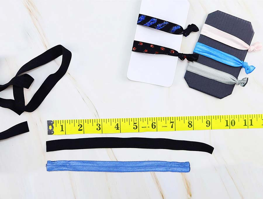 measure and cut the fold over elastic to make elastic hair ties