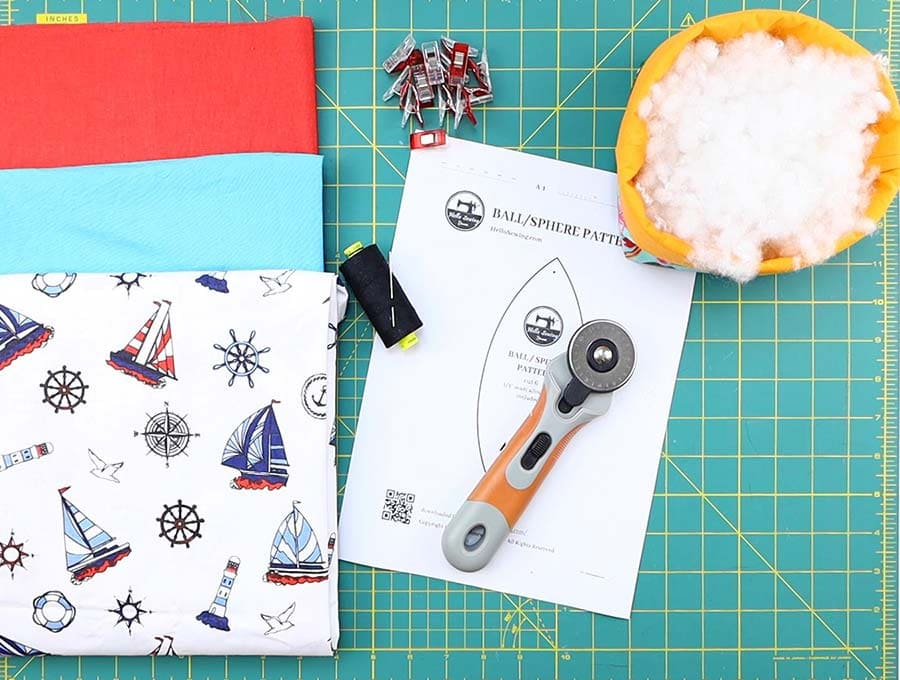 fabric ball supplies and  ball sewing pattern