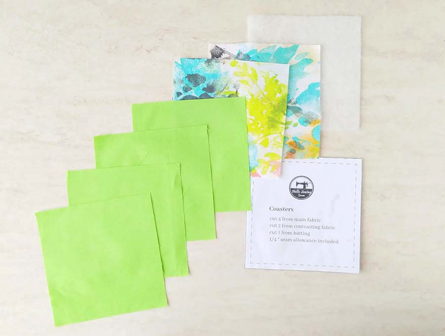 fabric coaster pattern and fabric pieces