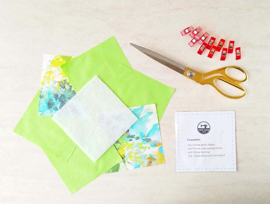 fabric coasters template and supplies