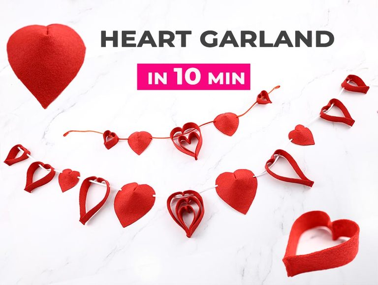 Hanging Fabric Heart Garland Tutorial, Video + FREE Pattern